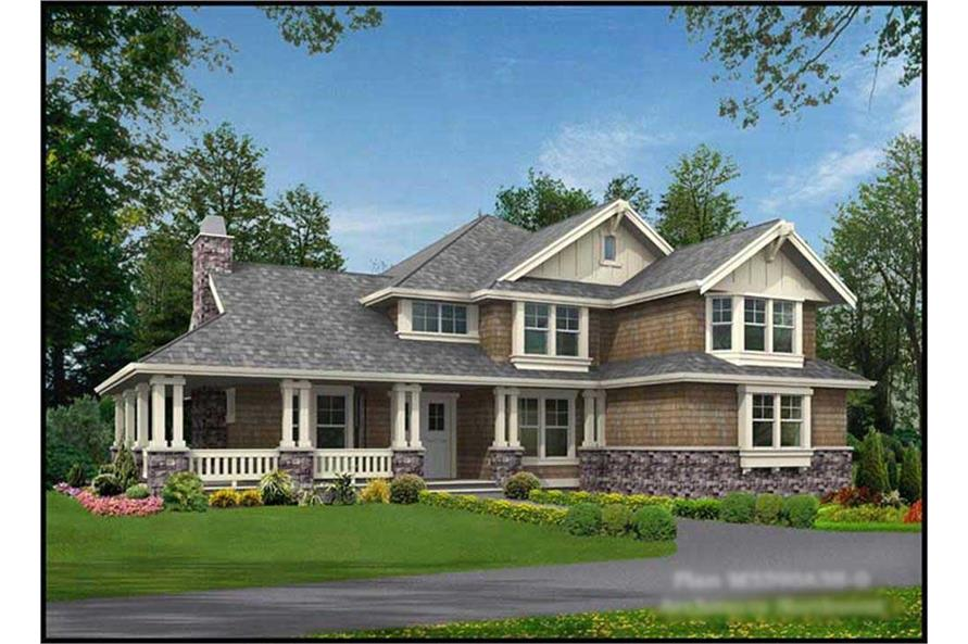 4-Bedroom, 3590 Sq Ft Shingle House Plan - 115-1329 - Front Exterior