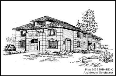 3-Bedroom, 3550 Sq Ft European Home Plan - 115-1331 - Main Exterior