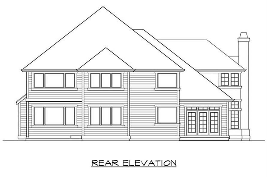 Home Plan Rear Elevation of this 4-Bedroom,3330 Sq Ft Plan -115-1332