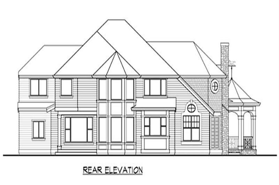 Home Plan Rear Elevation of this 4-Bedroom,4030 Sq Ft Plan -115-1333