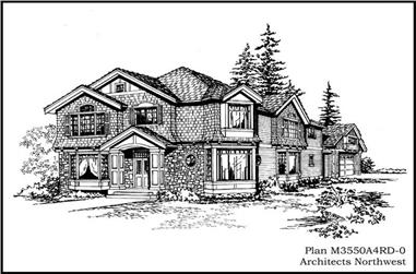 3-Bedroom, 3550 Sq Ft Country House Plan - 115-1334 - Front Exterior