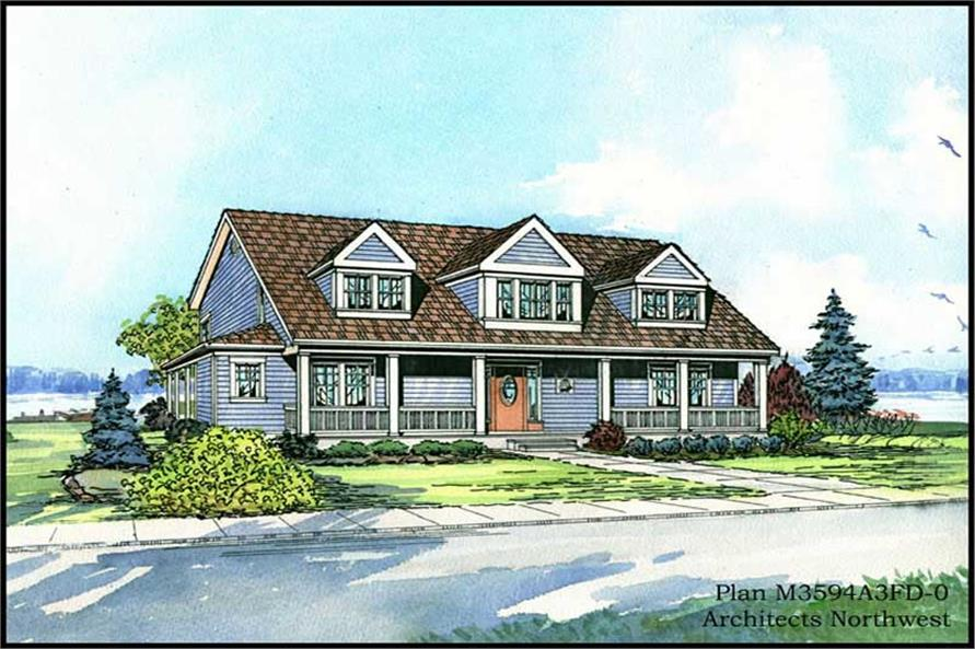 4-Bedroom, 3594 Sq Ft Country Home Plan - 115-1336 - Main Exterior