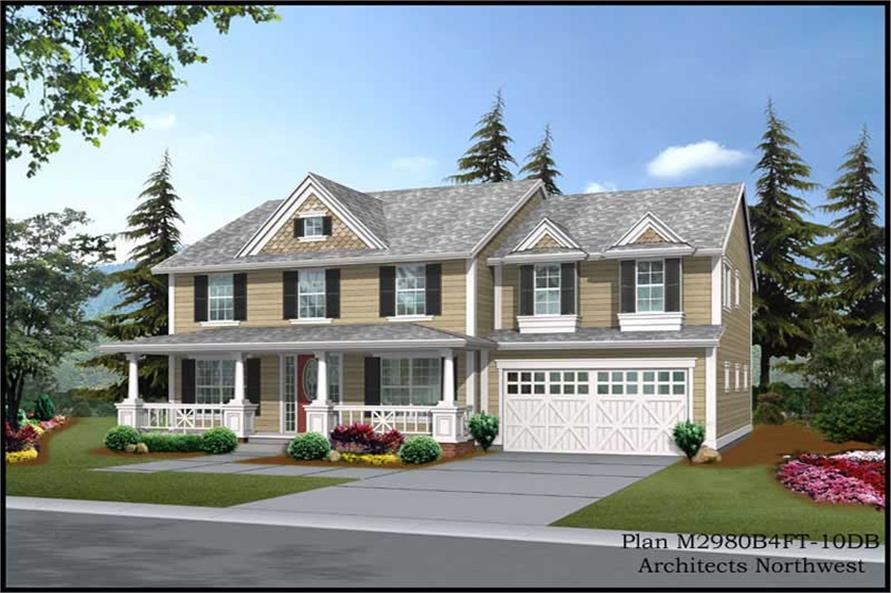 1-Bedroom, 3669 Sq Ft Country Home Plan - 115-1337 - Main Exterior