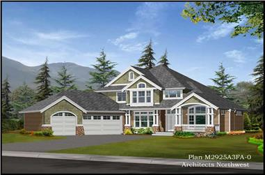 4-Bedroom, 2925 Sq Ft Shingle House Plan - 115-1338 - Front Exterior