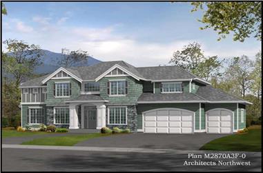 3-Bedroom, 2870 Sq Ft Shingle Home Plan - 115-1340 - Main Exterior