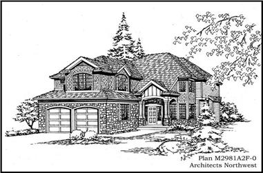 3-Bedroom, 2981 Sq Ft European House Plan - 115-1341 - Front Exterior