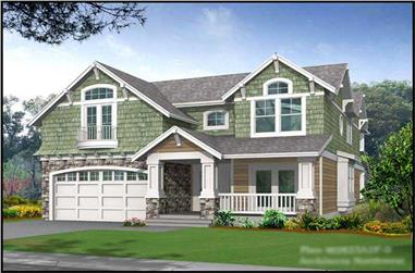 3-Bedroom, 2823 Sq Ft Shingle Home Plan - 115-1342 - Main Exterior