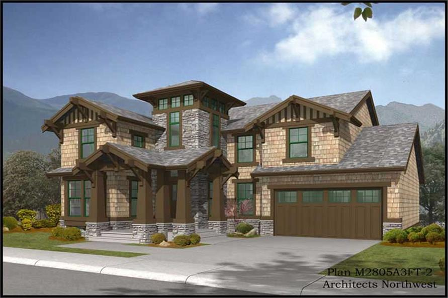 3-Bedroom, 3035 Sq Ft European Home Plan - 115-1343 - Main Exterior