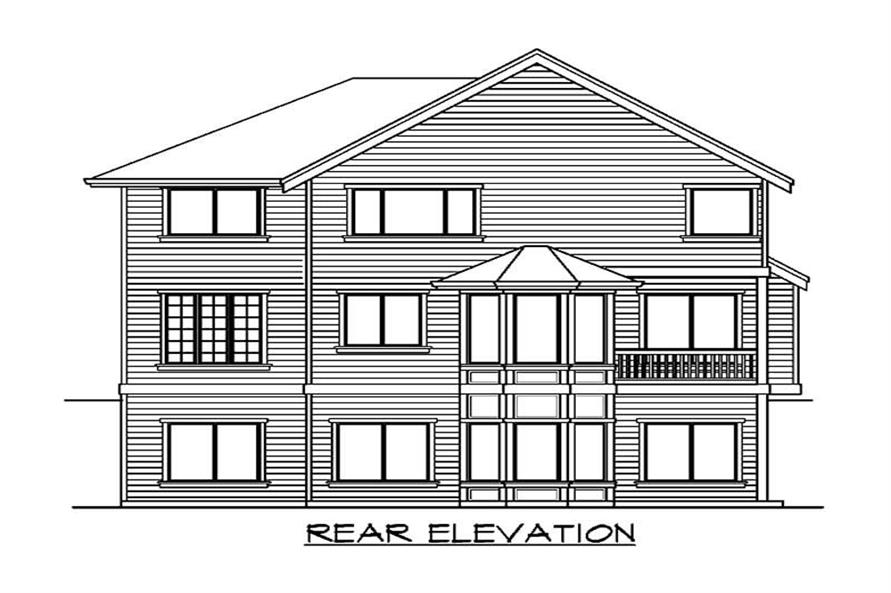 Home Plan Rear Elevation of this 3-Bedroom,4369 Sq Ft Plan -115-1345