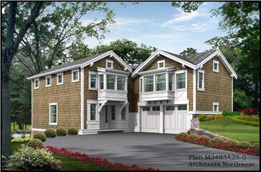3-Bedroom, 2510 Sq Ft Shingle House Plan - 115-1346 - Front Exterior