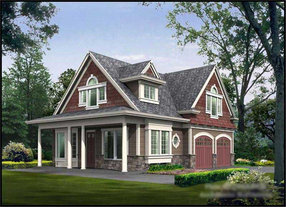 Front elevation of Ranch home (ThePlanCollection: House Plan #115-1355)