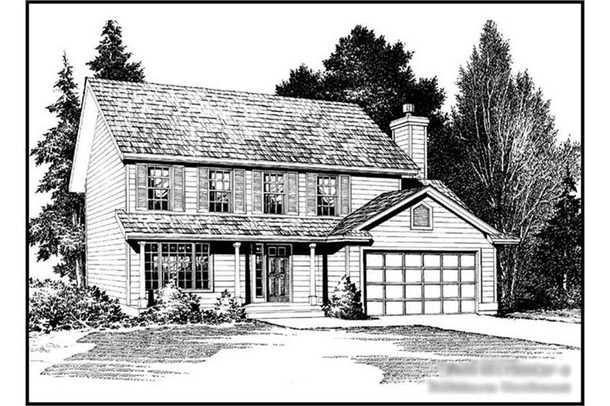 4-Bedroom, 1750 Sq Ft Colonial House Plan - 115-1360 - Front Exterior