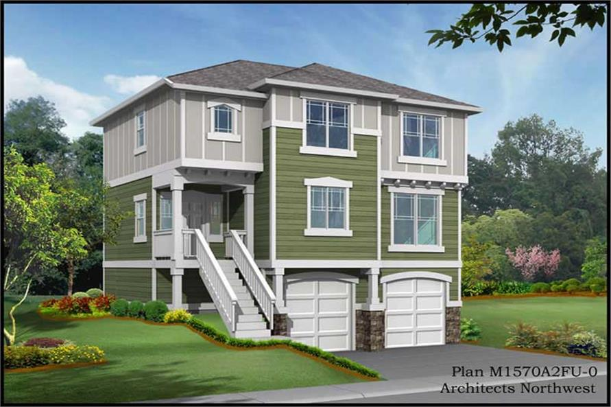 3-Bedroom, 1570 Sq Ft Multi-Level House Plan - 115-1362 - Front Exterior