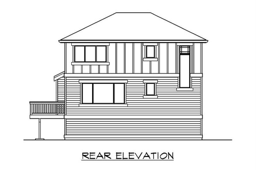 Home Plan Rear Elevation of this 3-Bedroom,1570 Sq Ft Plan -115-1362