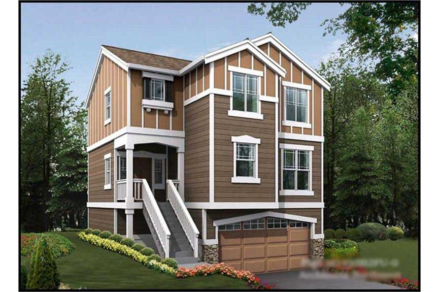 3-Bedroom, 1495 Sq Ft Multi-Level Home Plan - 115-1365 - Main Exterior