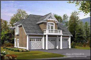 1-Bedroom, 755 Sq Ft Garage w/Apartments Home Plan - 115-1366 - Main Exterior