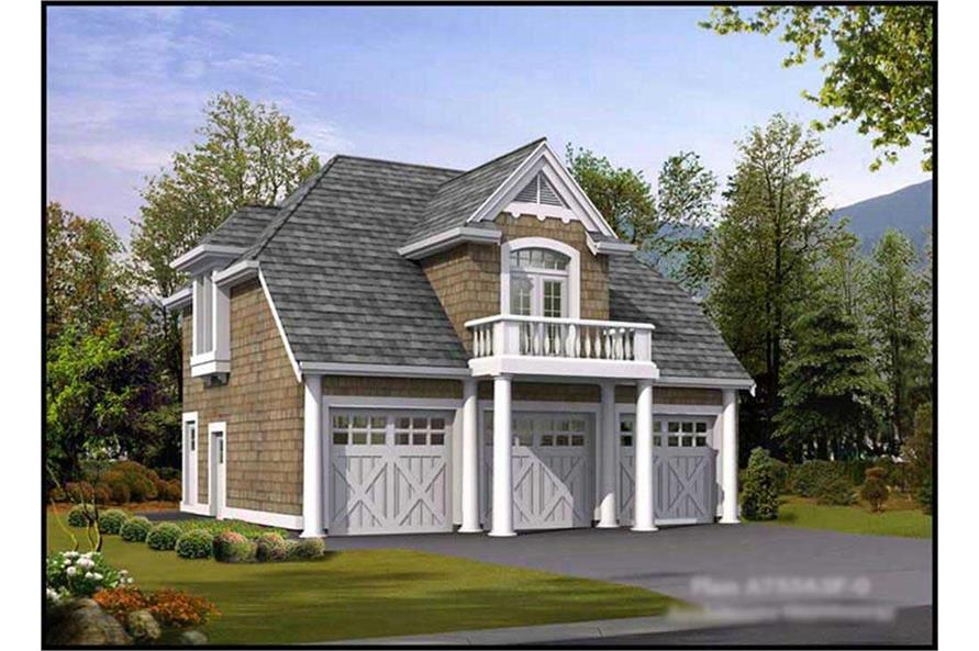 1-Bedroom, 755 Sq Ft Garage w/Apartments Home Plan - 115-1366 - Main Exterior