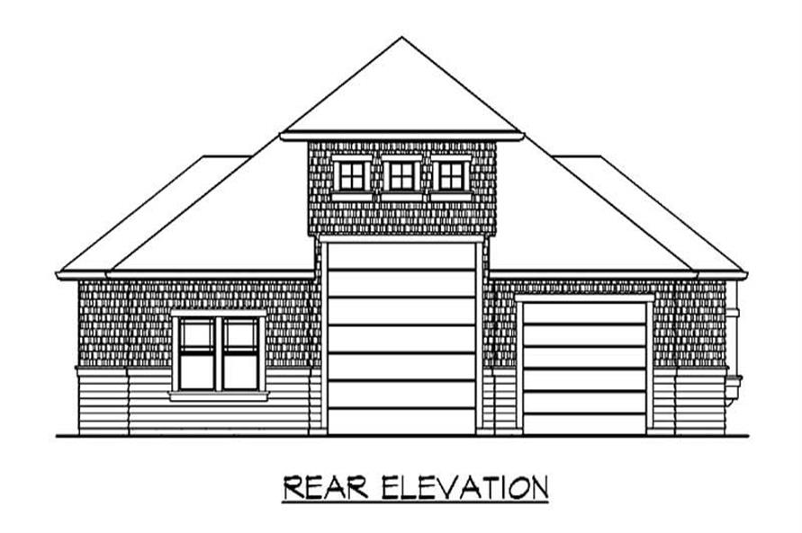 Home Plan Rear Elevation of this 1-Bedroom,585 Sq Ft Plan -115-1369