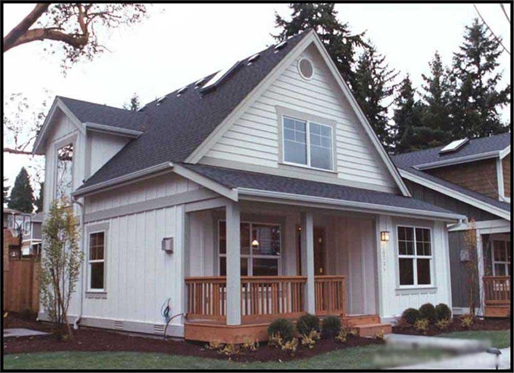 Bungalow home plan with porch (ThePlanCollection: House Plan #115-1371)