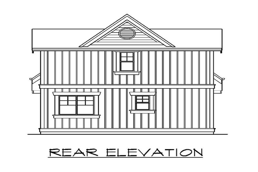 Home Plan Rear Elevation of this 2-Bedroom,1000 Sq Ft Plan -115-1371