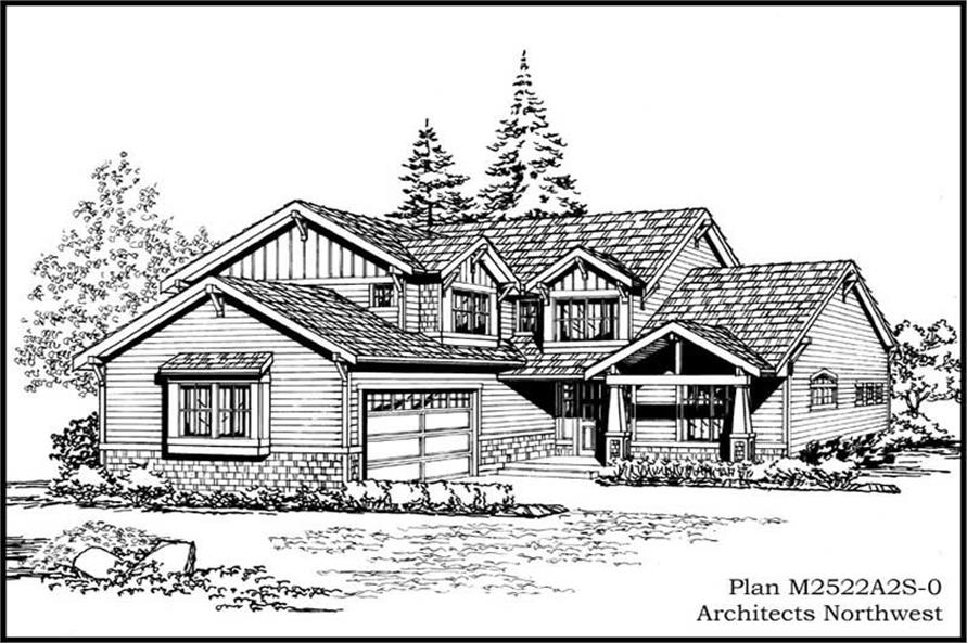3-Bedroom, 2522 Sq Ft Craftsman Home Plan - 115-1374 - Main Exterior