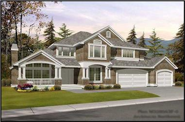 4-Bedroom, 3280 Sq Ft Shingle House Plan - 115-1376 - Front Exterior