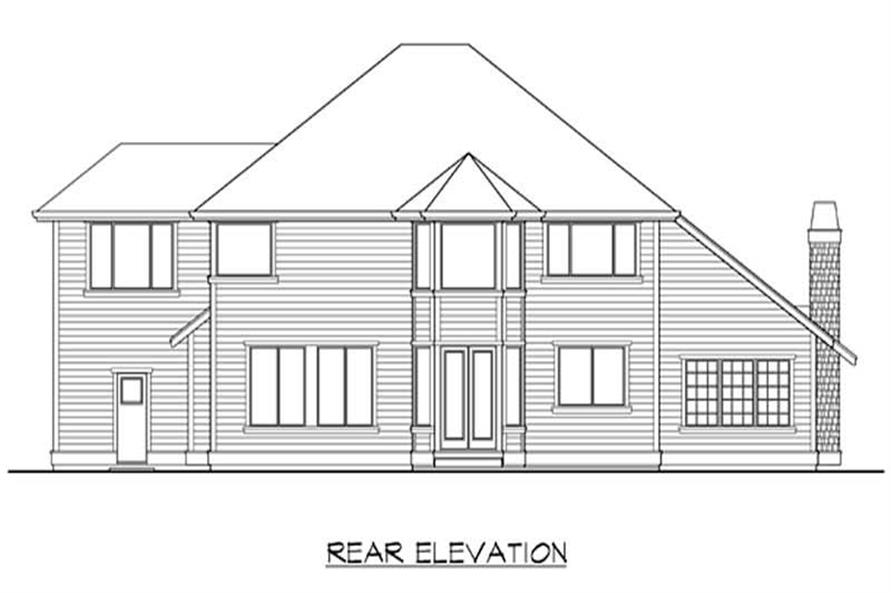 Home Plan Rear Elevation of this 4-Bedroom,3280 Sq Ft Plan -115-1376