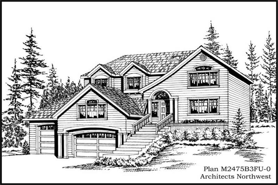 4-Bedroom, 2475 Sq Ft Multi-Level Home Plan - 115-1380 - Main Exterior