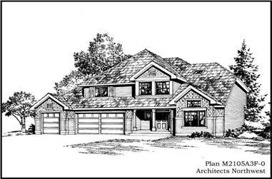 4-Bedroom, 2105 Sq Ft Ranch Home Plan - 115-1382 - Main Exterior