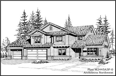 3-Bedroom, 2465 Sq Ft Traditional House Plan - 115-1383 - Front Exterior
