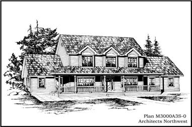 4-Bedroom, 3607 Sq Ft Country Home Plan - 115-1388 - Main Exterior