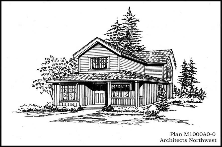 Front Elevation of this 1-Bedroom,1000 Sq Ft Plan -1000