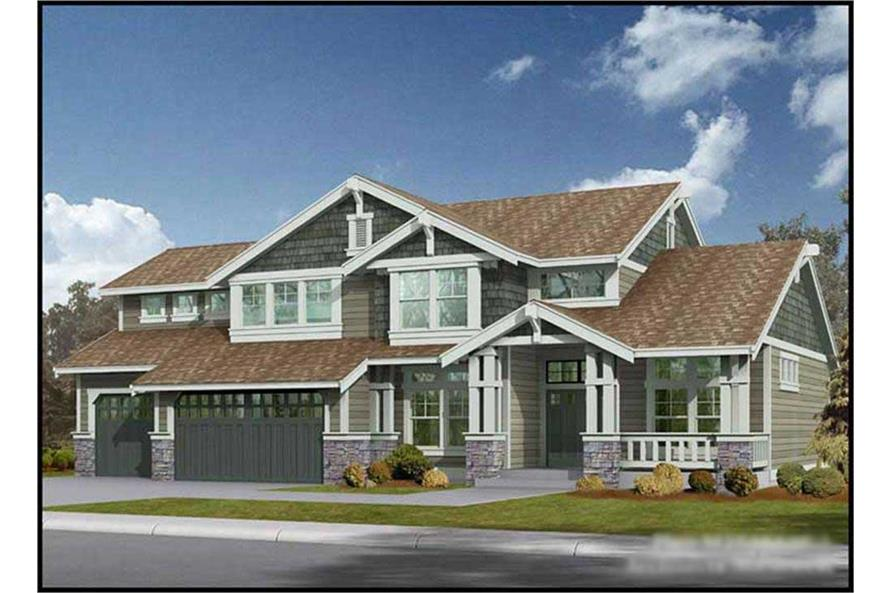 3-Bedroom, 2920 Sq Ft Craftsman House Plan - 115-1395 - Front Exterior