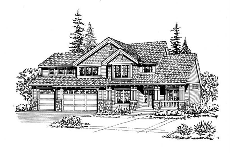 Home Plan Front Elevation of this 3-Bedroom,2920 Sq Ft Plan -115-1395