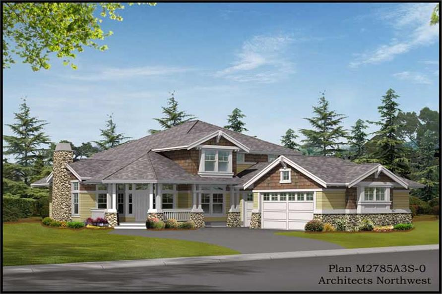 Home Plan Front Elevation of this 3-Bedroom,2785 Sq Ft Plan -115-1399