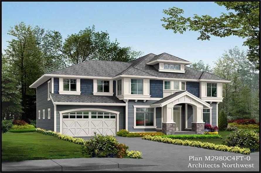 4-Bedroom, 2980 Sq Ft Traditional House Plan - 115-1408 - Front Exterior