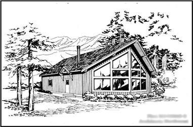 3-Bedroom, 1450 Sq Ft Log Cabin Home Plan - 115-1409 - Main Exterior