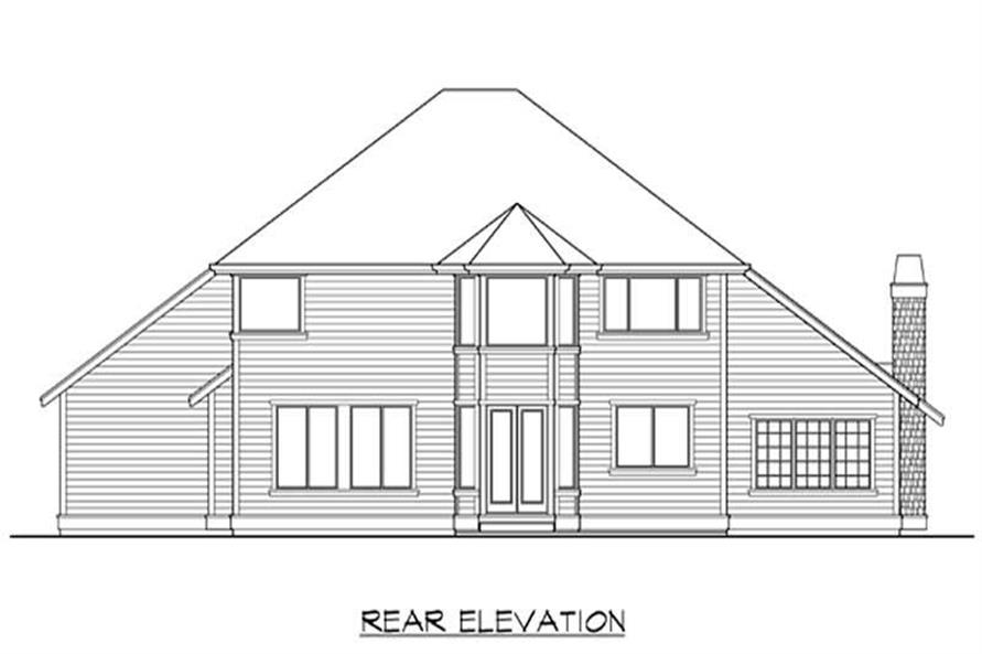 Home Plan Rear Elevation of this 4-Bedroom,3015 Sq Ft Plan -115-1410