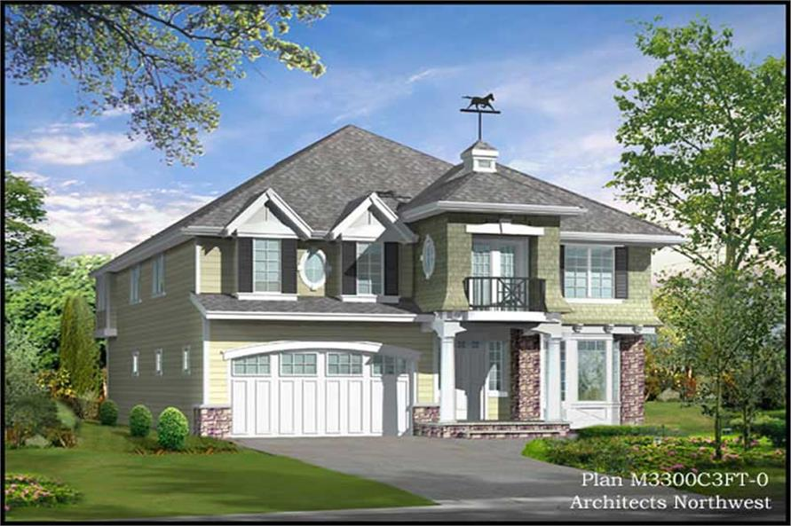 4-Bedroom, 3238 Sq Ft Traditional Home Plan - 115-1412 - Main Exterior