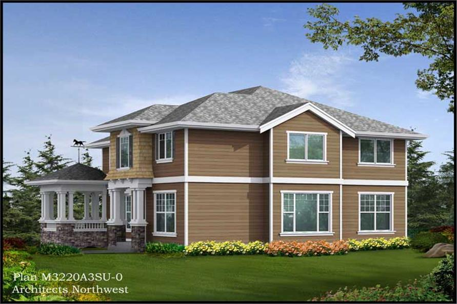 Home Plan Rear Elevation of this 3-Bedroom,3220 Sq Ft Plan -115-1413