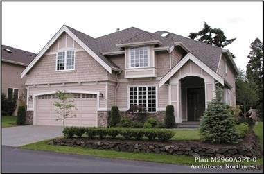 4-Bedroom, 2960 Sq Ft Shingle House Plan - 115-1415 - Front Exterior