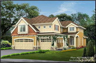 4-Bedroom, 3117 Sq Ft Cottage-Style House Plan - 115-1416 - Front Exterior
