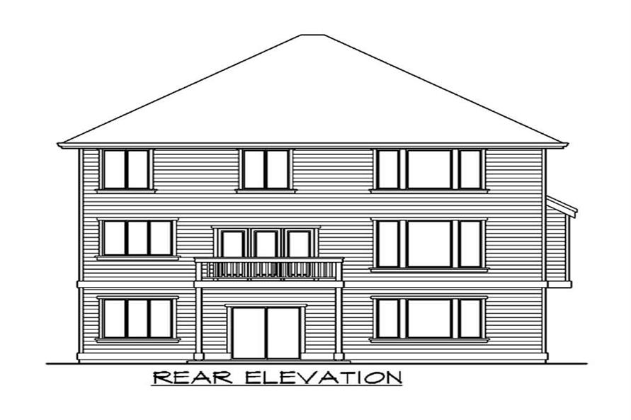 Home Plan Rear Elevation of this 4-Bedroom,4106 Sq Ft Plan -115-1419