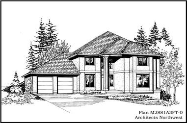 4-Bedroom, 2819 Sq Ft Contemporary Home Plan - 115-1420 - Main Exterior