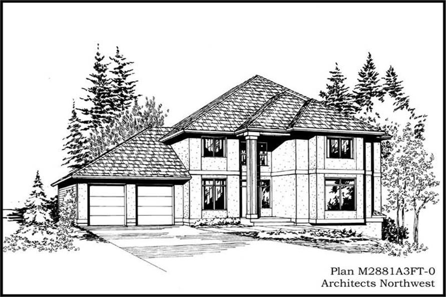 4-Bedroom, 2819 Sq Ft Colonial House Plan - 115-1420 - Front Exterior