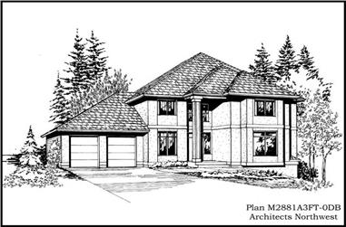5-Bedroom, 3693 Sq Ft Contemporary Home Plan - 115-1421 - Main Exterior