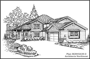 3-Bedroom, 2845 Sq Ft Country Home Plan - 115-1422 - Main Exterior