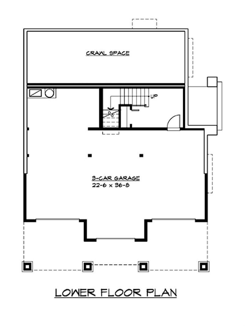 Craftsman bungalow home with 3 bedrooms 2675 sq ft for Garage floor plans