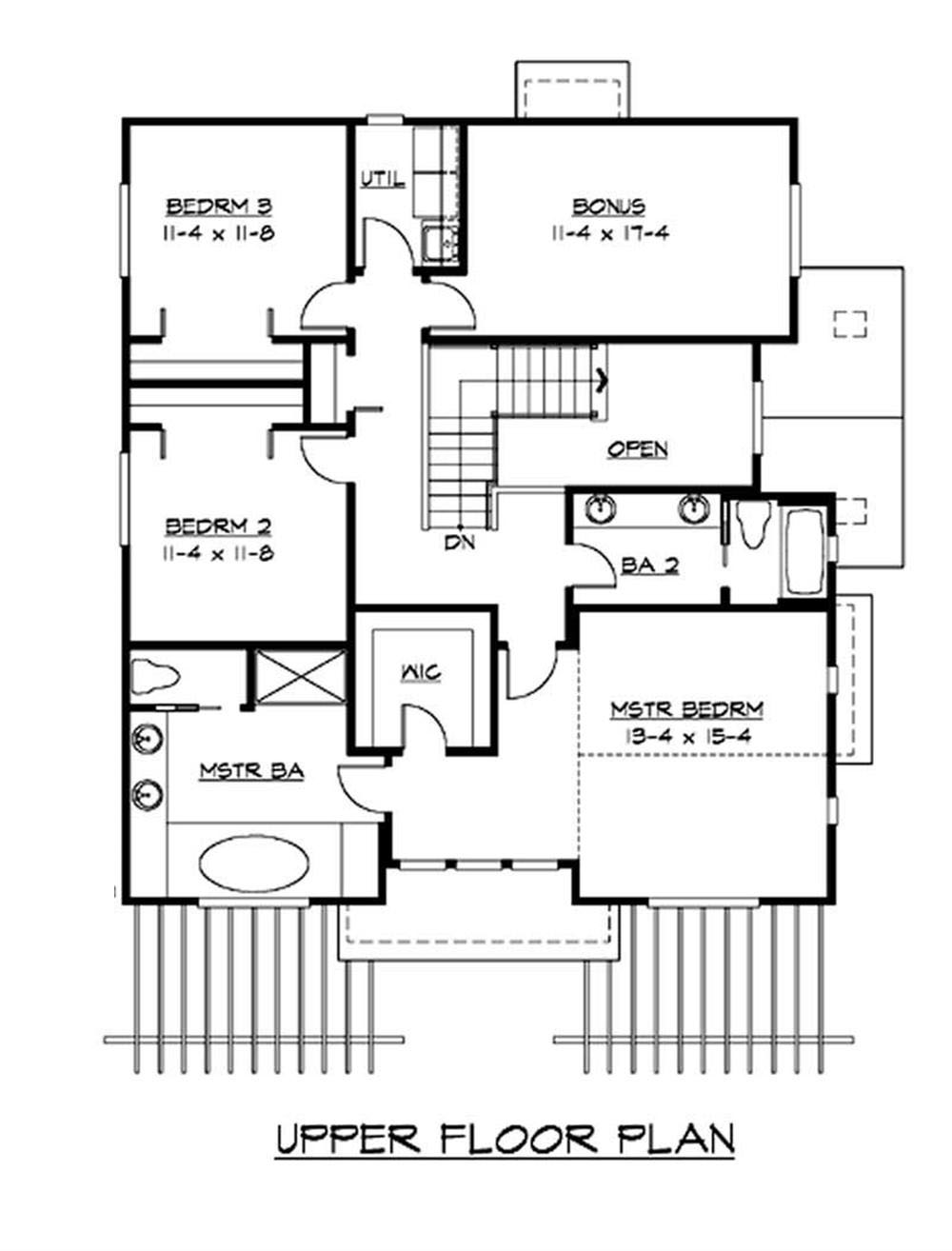 Craftsman bungalow home with 3 bedrooms 2675 sq ft for Second story floor plan