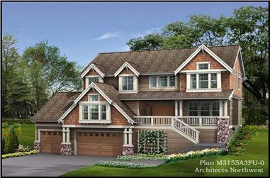 4-Bedroom, 3155 Sq Ft Multi-Level Home Plan - 115-1430 - Main Exterior